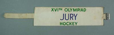 Armband, 1956 Olympic Games hockey jury; Clothing or accessories; 1999.3485.29