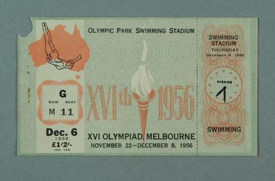 Ticket for 1956 Olympic Games swimming events, 6 Dec