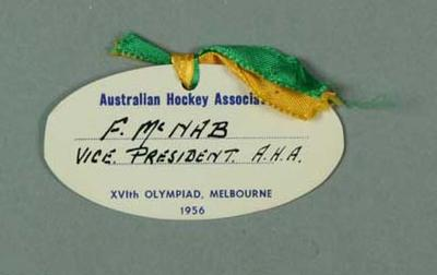 Name tag worn by Fin McNab, Aust Hockey Association 1956 Olympic Games