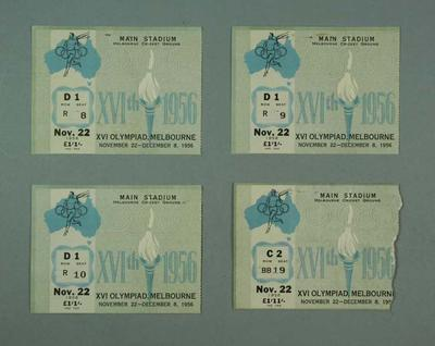 Four tickets for 1956 Olympic Games opening ceremony, 22 Nov