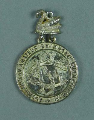 Silver medal presented for second place in AASC 100 yard race on 12 February 1908, won by Frank Beaurepaire