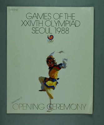 Programme, 1988 Seoul Olympic Games Opening Ceremony