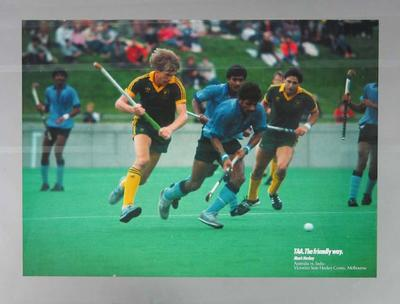 Poster, Australia v India hockey match - c1980s