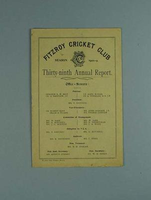 Annual report, Fitzroy Cricket Club - season 1901/02