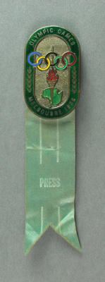 Press badge, 1956 Melbourne Olympic Games