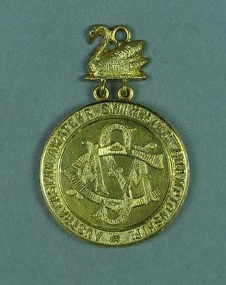 Gold medal presented for first place in AASC 440 yard race on 19 February 1908, won by Frank Beaurepaire
