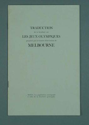 Booklet, Invitation to 1956 Melbourne Olympic Games - French translation