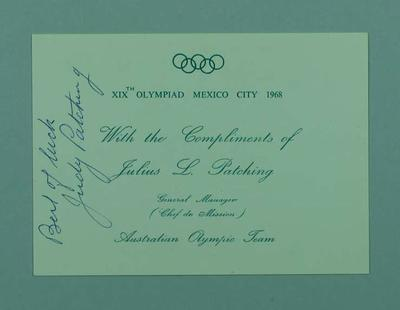 Card from Judy Patching, 1968 Olympic Games; Documents and books; 1999.3501.5