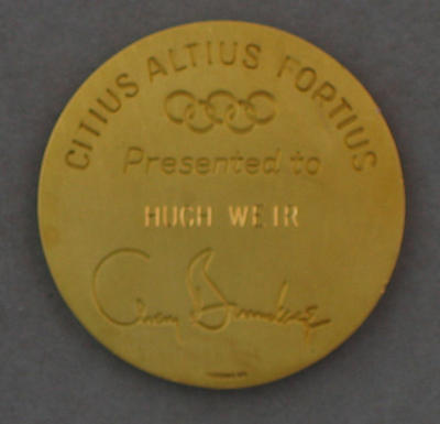 Avery Brundage Achievement Medal, presented to Hugh Weir