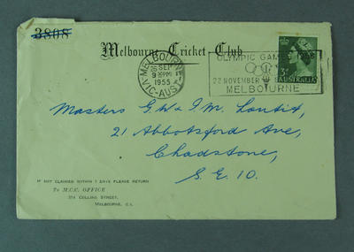 Melbourne Cricket Club envelope, with 1956 Olympic Games postmark; Documents and books; 1999.3506.2