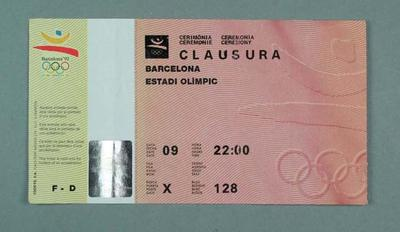Ticket, 1992 Olympic Games Closing Ceremony