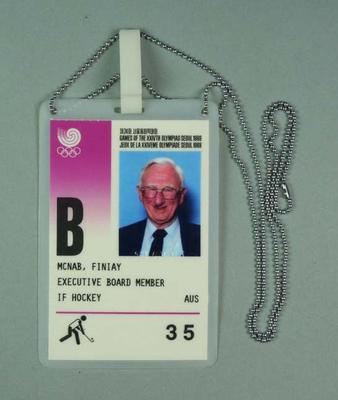 Identification pass issued to Fin McNab, 1988 Olympic Games; Documents and books; 1999.3512.4