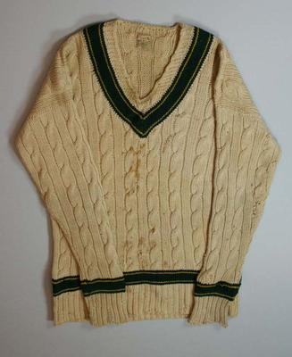 Cream wool long sleeved  cricket jumper worn by Bill O'Reilly