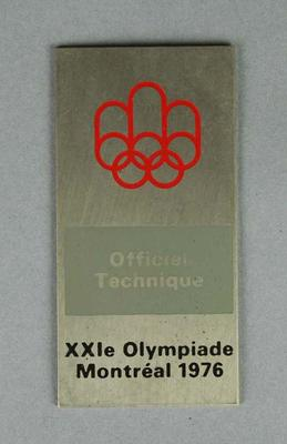 Badge, 1976 Montreal Olympic Games Official