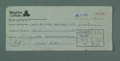 Receipt, Teleglobe Canada c1976