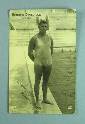 Autographed photograph of Richmond Eve, 1924 Paris Olympic Games