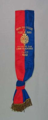 Sash presented to Bob Spears, Grand Prix de Paris 1922; Trophies and awards; 1999.3526