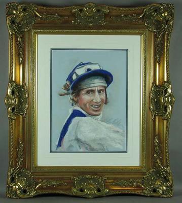 Framed pastel portrait of Roy Higgins, by Bill Millar c1999