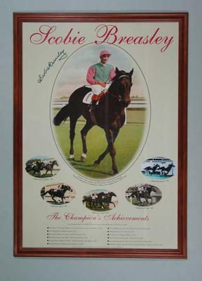 Poster featuring images of Scobie Breasley, framed