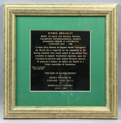 Plaque, accompanies print of Scobie Breasley photographs