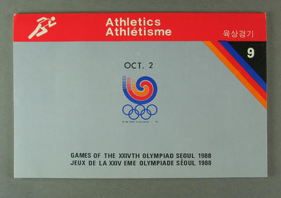 Booklet, 1988 Olympic Games athletics events results