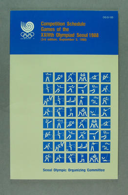 Booklet, 1988 Olympic Games Competition Schedule - 3rd Edition