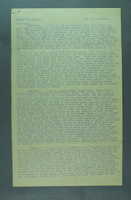 Letter written by Ern Baker, details 1956 Olympic Games equestrian events