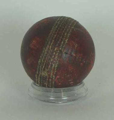 Red leather cricket ball, used, possibly first Test Australia v England 1948