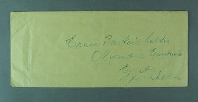 Envelope, contained letter detailing 1956 Olympic Games equestrian events