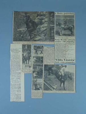 Newspaper clippings, detailing 1956 Olympic Games equestrian events