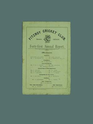 Annual report, Fitzroy Cricket Club - season 1903/04