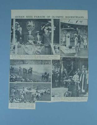 Newspaper clipping, 1956 Olympic Games equestrian events opening ceremony