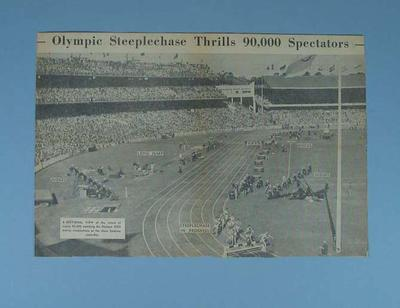 """Newspaper clipping, """"Olympic Steeplechase Thrills 90,000 Spectators"""""""