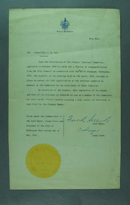 Letter, accompanied 1956 Melbourne Olympic Games medallion