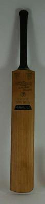 Cricket bat belonging to Keith Miller, autographed, unused, 1948-49.