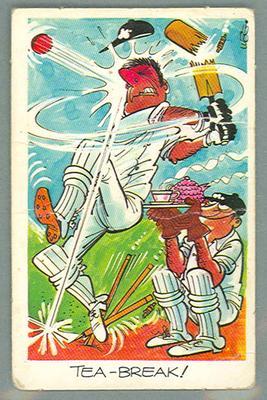 1972 Sunicrust Cricket - Comedy Cricket, Tea Break trade card