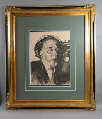 Portrait of horse racing caller Bill Collins, drawn by Bill Millar