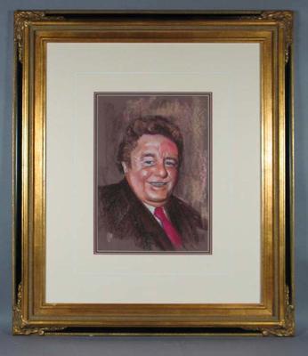 Portrait of horse racing caller Bert Bryant, drawn by Bill Millar