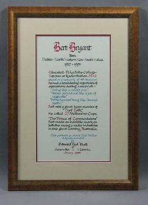 Calligraphied text of career of race caller Bert Bryant with authentication pastel drawing of Bert Bryant by artist Bill Millar