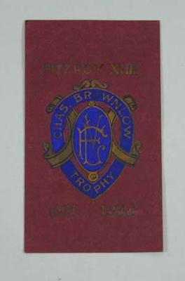 Card presented to Haydn Bunton by Fitzroy FC, 1931-32 Brownlow Trophy winner
