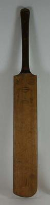 Cricket bat used by Warwick Armstrong with inscription on reverse. Maker Wisden Crawford.