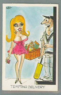 1972 Sunicrust Cricket - Comedy Cricket, Tempting the Delivery trade card