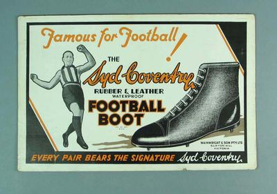 Advertisement, Syd Coventry Football Boots c1930s