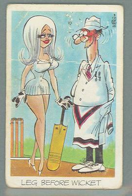 1972 Sunicrust Cricket - Comedy Cricket, Leg Before Wicket trade card
