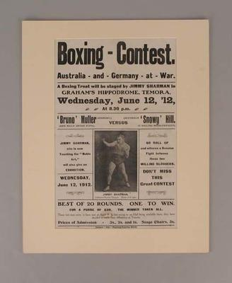Poster, Boxing Contest promoted by Jimmy Sharman - 12 June 1912