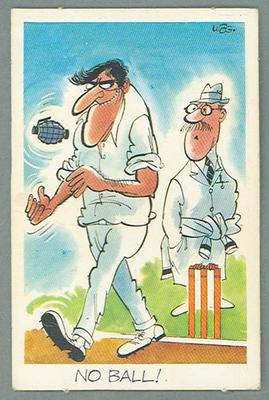1972 Sunicrust Cricket - Comedy Cricket, No Ball trade card