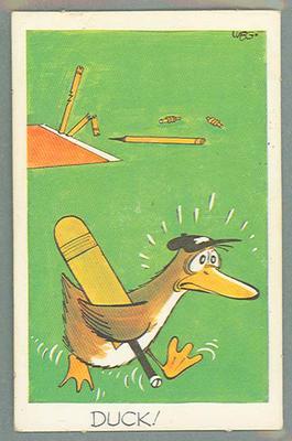 1972 Sunicrust Cricket - Comedy Cricket, Duck trade card