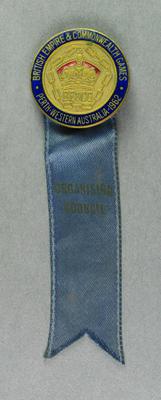 Badge with ribbon, British Empire & Commonwealth Games Perth 1962 - Organising Council