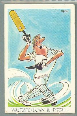 1972 Sunicrust Cricket - Comedy Cricket, Waltzed Down the Pitch trade card