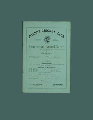 Annual report, Fitzroy Cricket Club - season 1904/05
